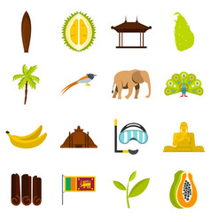 Sri lanka travel set flat icons vector