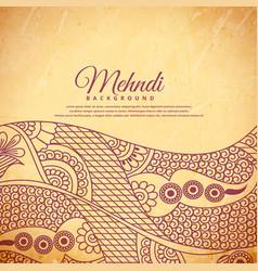 Vintage henna mehndi background vector