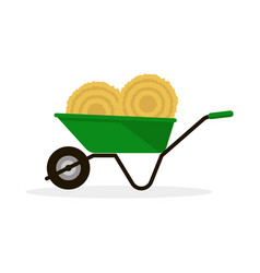wheelbarrow with hay vector image vector image
