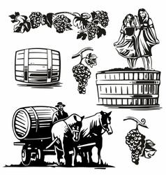 Women dancing barrel grapes charioteer cart driven vector
