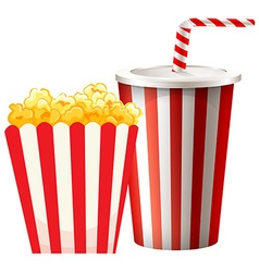 Popcorn in box and cup of drink vector