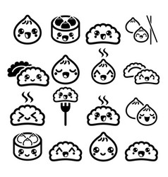 kawaii chinese dumplings cute asian food dim sum vector image