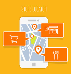 store locator tracker app and mobile gps navigatio vector image