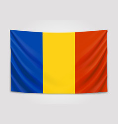Hanging flag of romania romania national flag vector