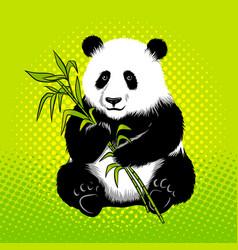 panda bear with bamboo pop art style vector image