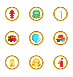 Firefighter department icon set cartoon style vector