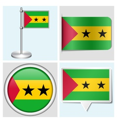 Sao Tome and Principe flag - sticker button vector image