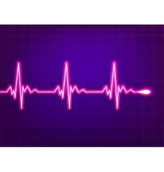 Heart cardiogram on deep fiolet EPS 8 vector image