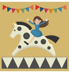 Girl sitting on horse vector