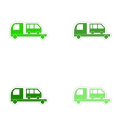 Assembly realistic sticker design on paper car bus vector