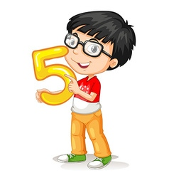 Asian boy holding number five vector
