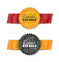 Summer sale circle stickers vector