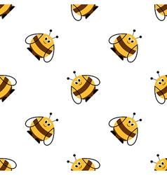 Seamless pattern with insects comic bees vector