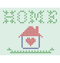 Embroidered house vector