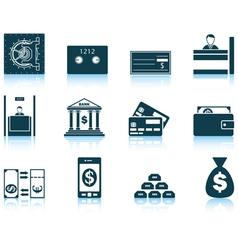 Set of twelve bank icons vector image