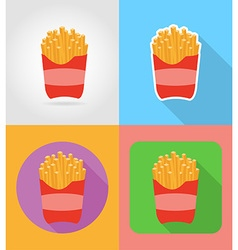 fast food flat icons 01 vector image