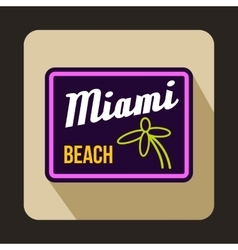 Miami beach icon in flat style vector