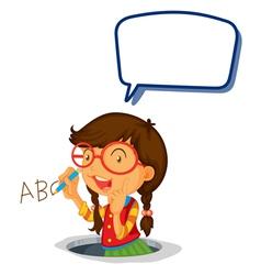Girl holding speech bubble vector image