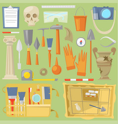 Archeology archaeological finds and tools vector