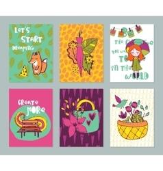 Autumn funny hand drawn cards set vector image vector image