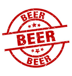 Beer round red grunge stamp vector