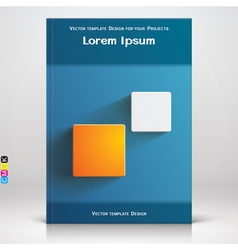Book or brochure blue cover design vector image