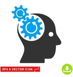 Brain gears rotation eps icon vector
