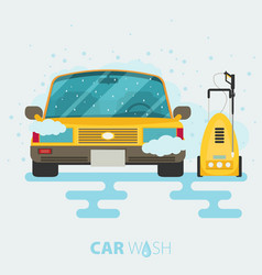 Car wash web banner in flat style with car tool vector