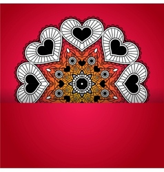 Card with round ornament from hearts vector image