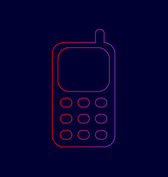 Cell phone sign line icon with gradient vector