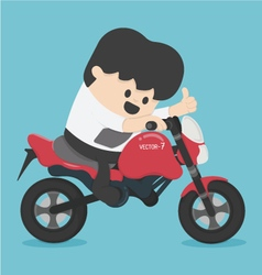 Character businessman riding on a motorcycle vector