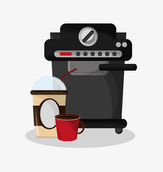 Coffee espresso machine with glass disponsable for vector