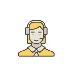 Colorful call center operator icon woman vector