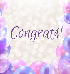 Congrats card with balloons vector
