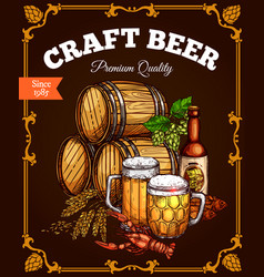 Craft beer pub bar retro poster vector