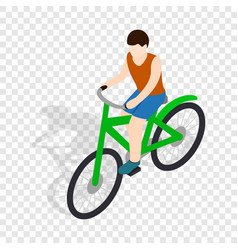 Cyclist riding a bike isometric icon vector
