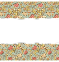Floral seamless pattern with torn paper vector