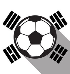 Football icon with south korea flag vector