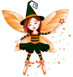 halloween cute fairy vector image vector image