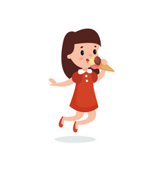 happy brunette girl licking ice cream cartoon vector image vector image
