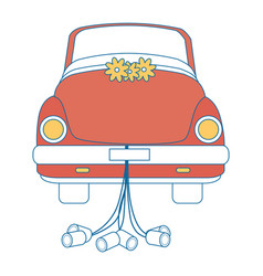 Isolated newlywed couple car vector