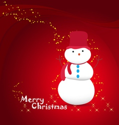 Merry christmas with snowman background vector image vector image