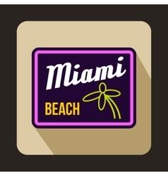 Miami beach icon in flat style vector
