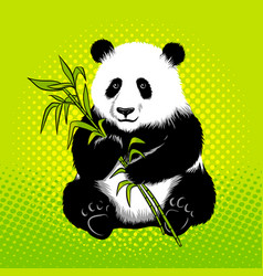 Panda bear with bamboo pop art style vector