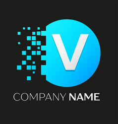 Realistic letter v logo in colorful circle vector