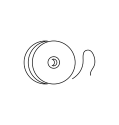 Reel with fishing line icon outline style vector