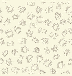 Seamless pattern of hand-drawn coffee icons vector