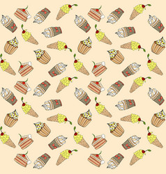 seamless pattern with different sweet cakes vector image vector image