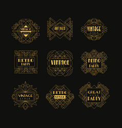Set of art deco badges decorative golden frames vector