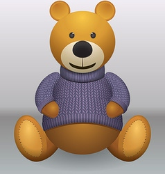 Teddy bear in sweater grey ackground vector image vector image